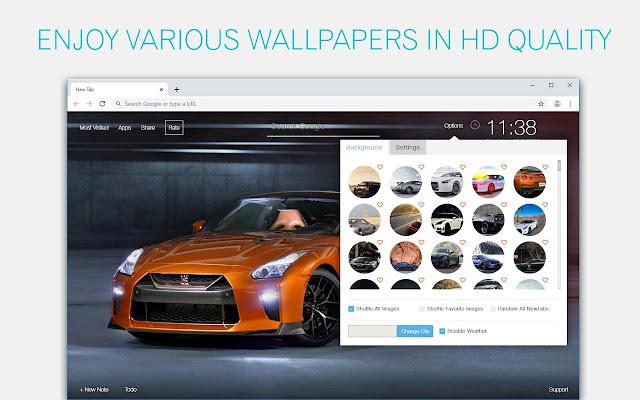 Nissan GTR Cars Wallpaper HD New Tab Themes