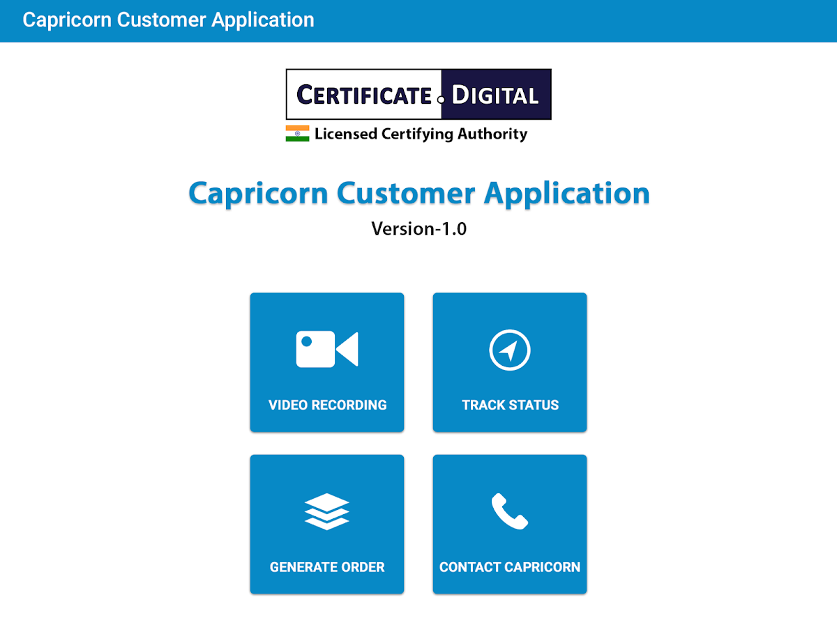 Capricorn Customer Application- screenshot