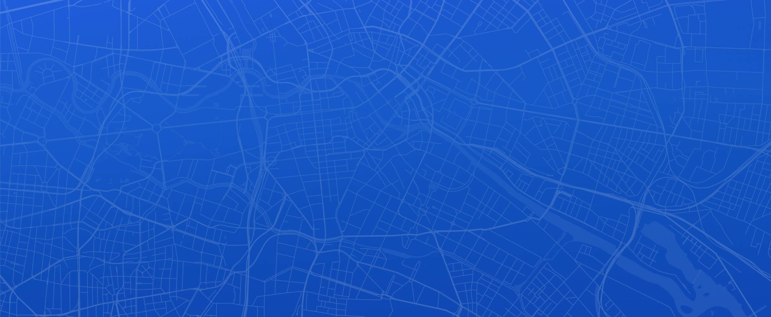 Blue and white map of city