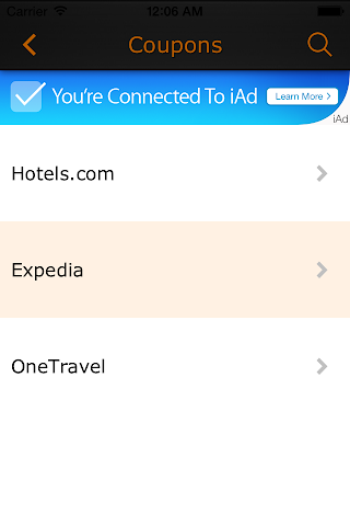 android Corporate Travel Coupons-Im In Screenshot 1