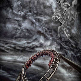 hell of a ride by Egon Zitter - Digital Art Places ( clouds, ride, themepark, rollercoaster, dramatic, hell, run, doom, black )