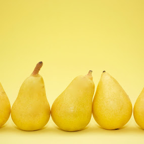 Five pears by Sarah Saratonina - Food & Drink Fruits & Vegetables ( five, yellow background, pears, yellow, pear,  )