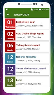 Calendar 2020 with Holidays 1.10 Mod APK Download 3