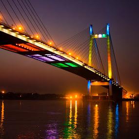 Vidyasagar bridge, Kolkata, India by Rajib Bandhu Dekha Hobe - Buildings & Architecture Bridges & Suspended Structures ( lightings, kolkata, india, bridge )