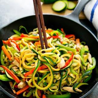 Stir Fry Zucchini Noodles Chow Mein.