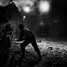 Sand Glass Man by Goran Popović - People Group/Corporate ( miner coal worker man people pit lignite kolubara )
