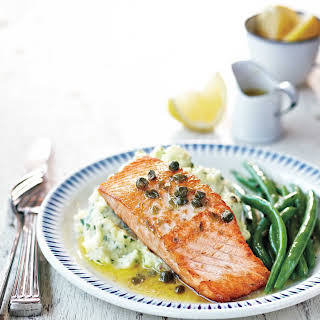 Lemon and Caper Salmon With Herbed Potato Mash.