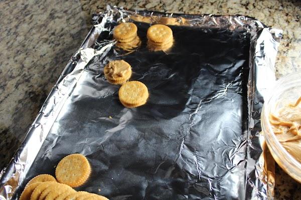 Put peanut butter on the Ritz crackers and make a peanut butter sandwich
