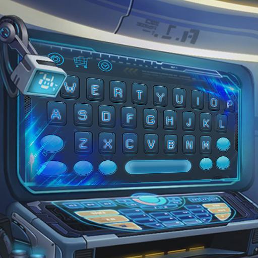 Blue alien technology keyboard