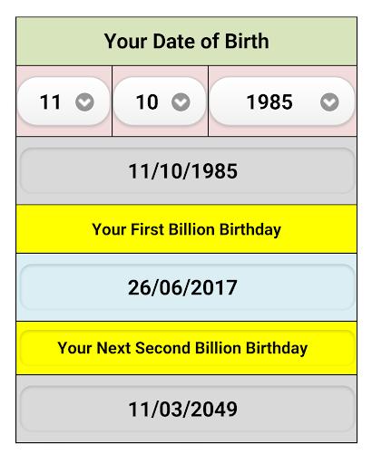 Your Billionth Second Birthday
