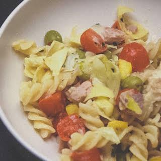 Summer Pasta Salad with Tuna and Artichoke Hearts.
