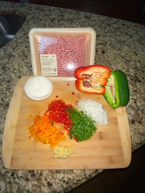 chopped veggies and ground turkey