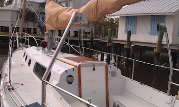 Photo: dodger off, decks cleared of harware, gallows cross piece removed, bimini off - we are in full project mode now.