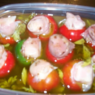 Pickeled Stuffed Cherry Hot Peppers.