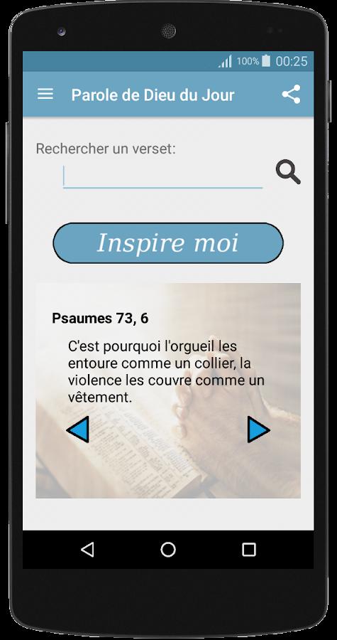 Parole de dieu du jour bdj android apps on google play - Verset biblique consolation ...