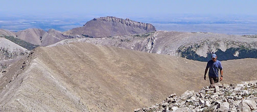 """Photo: 2014 - This a a view of the west side of Ear Mountain from the summit of Rocky Mountain. I took this the day after Tim and I climbed Ear. That is our friend Mark, who joined us to climb Rocky Mountain. To return to the blog, go to """"bigskywalker.com""""."""