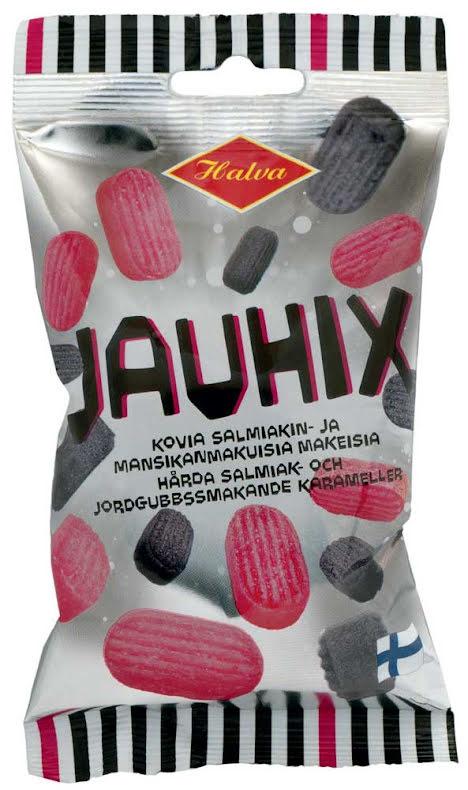 Jauhix – hårda karameller smak av salmiak & jordgubbar - Halva lakrits