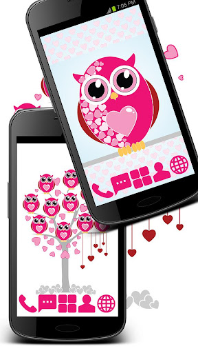 Pink Hearts Owls Theme GO ADW