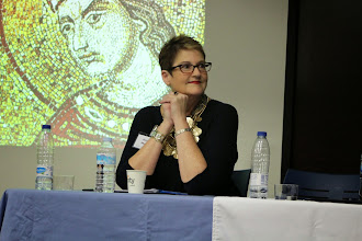 Photo: Annette Morrow at the Madrid conference of the Medieval Association of the Midwest (January 23, 2015).