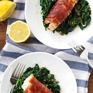 Prosciutto-Wrapped Cod with Lemon Caper Spinach.
