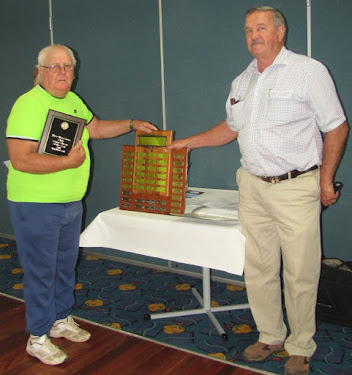 2018 Wee Waa Lions Senior Citizen of the Year Don Blackwell with Wee Waa Lions Senior Citizen of the Year morning tea and lunch MC Ron Lowder.