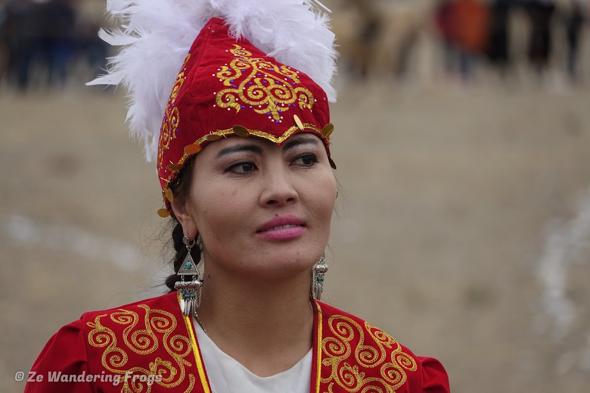 Mongolia. Golden Eagle Festival Olgii. Dressed up Kazakh Lady