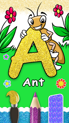 Glitter Number and letters coloring Book for kids screenshot 7