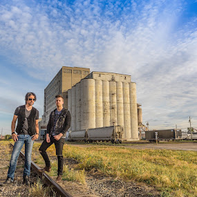 Majestic Alberta Sky photo shoot by David Kotsibie - People Musicians & Entertainers ( clouds, canada, alberta, album, calgary, tracks, prairie, country, sky, industrial, blue, rail, cloud, train, factory, industry )