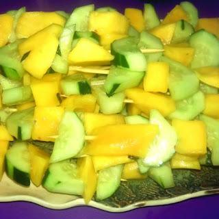 Spicy Mango Cucumber Skewers