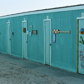Beach Cabanas  by Lorraine D.  Heaney - Buildings & Architecture Other Exteriors