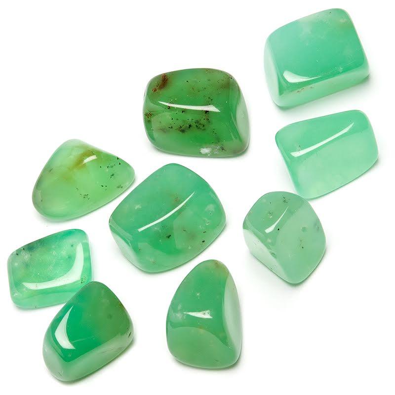 Krysopras, trumlad AA kristall