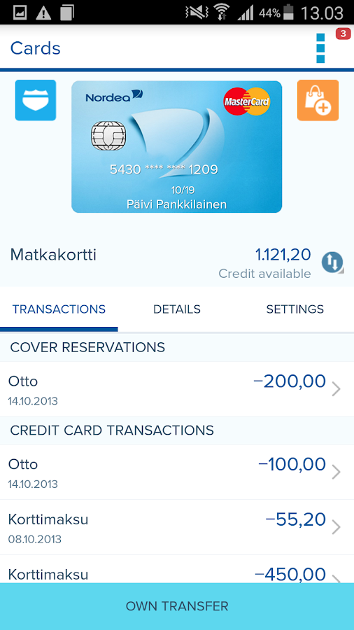 Nordea Mobile Bank – Finland - screenshot
