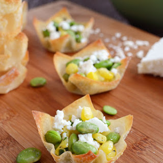 Baked Wonton Cups filled with Edamame Salad and Ricotta Salata