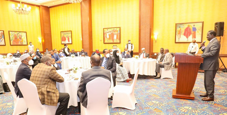 ODM leader Raila Odinga when he addressed the Pastoralist Leaders Forum at the Serena Hotel on November 9, 2020.