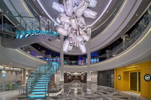 678 Ocean Place on Norwegian Encore encompasses the atrium, three decks and most of the ship's restaurants and lounges.