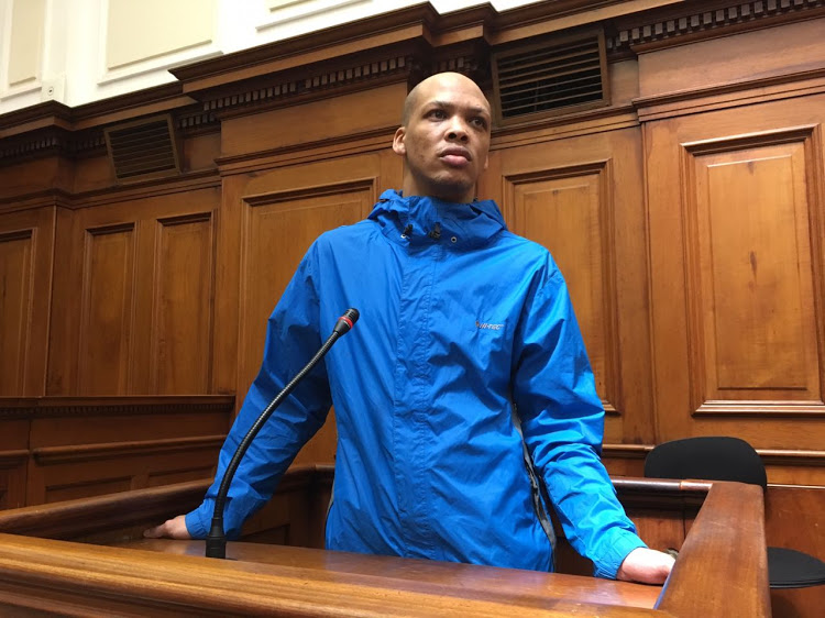 Geraldo Parsons' who is accused of abducting' raping and murdering Hannah Cornelius' gives evidence in the high court in Cape Town on October 23 2018.