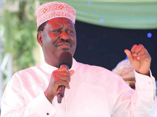 Opposition leader Raila Odinga in Mombasa on Sunday, June 17, 2018. /JOHN CHESOLI