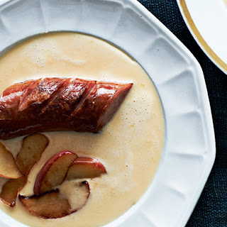 Beer and Cheddar Soup with Kielbasa Sausage