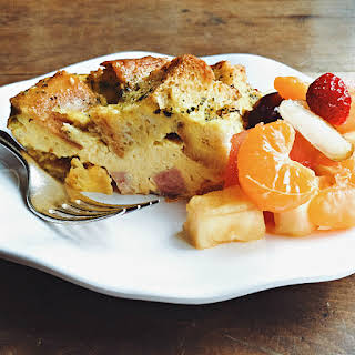 Baguette Ham Overnight Breakfast Casserole.