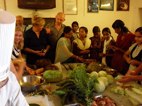 Photo: All the guests helping to prepare vegetables