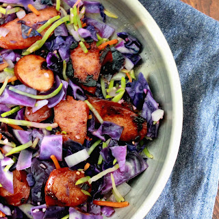 Kielbasa with Red Cabbage and Broccoli Slaw.