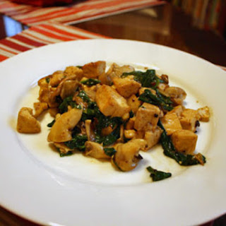 Three-Alarm Tofu with Oyster Mushrooms and Spinach.