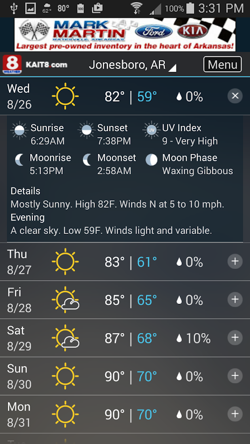 KAIT Region 8 Weather- screenshot