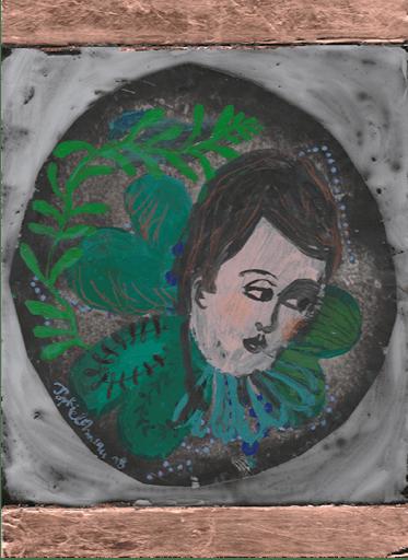 l-homme-trefle-peinture-acrylique-papier-magazine--printemps-renaissance-sophie-lormeau-art-singulier-figuratif-contemporain-portrait-imaginaire-sourire-jeune-pousse-souvenir-artist-emergent-power-flower-fleur-trefle-bonheur
