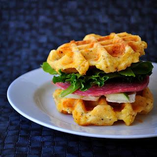 Gluten Free Cheddar and Polenta Waffle Sandwich