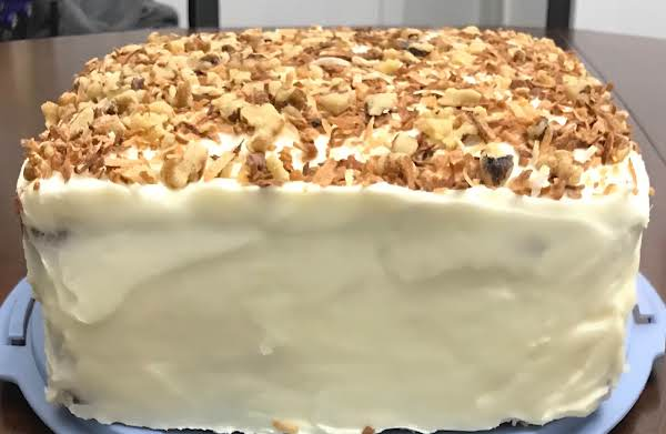 Carrot Cake With Toasted Coconut And Walnuts
