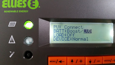 Photo: [Device replaced with a Victron unit now] Solar charge controller showing LVD for low voltage detected