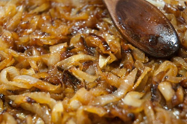 Reduce most of the additional liquid, until the onions are nice and creamy, about...