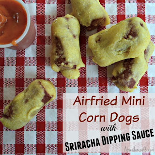 Mini Corn Dogs with Sriracha Dipping Sauce Recipe (Made in an Airfryer)
