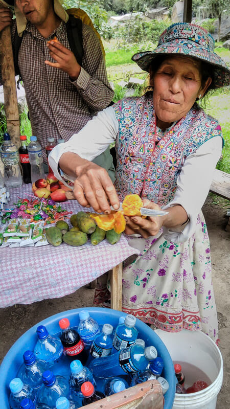 A Peruvian lady selling fruits and water in Peru colca canyon
